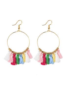 Bohemian Sector Shape Tassel Pendant Big Hoop Earrings Statement Dangle Earrings For Women by Newchic