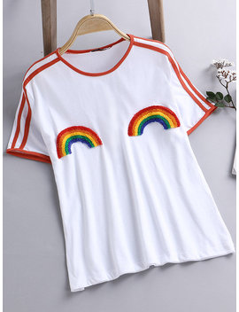 Striped Rainbow Short Sleeve O Neck Casual T Shirts by Newchic