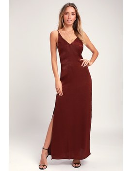 Nania Burgundy Backless Satin Maxi Dress by Lulus