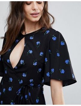 Fashion Union Wrap Tea Blouse In Vintage Floral Print by Fashion Union