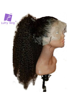 Luffy Kinky Curly Full Lace Human Hair Wigs Pre Plucked Glueless Non Remy Malaysian Hair 130 Percents Density With Baby Hair by Luffy