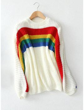 Rainbow Overhead Long Sleeve Casual Sweaters by Newchic