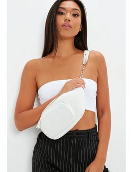 White Borg Chain Link Bumbag by Missguided