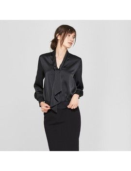 Women's Long Sleeve Silky Tie Front Blouse   Prologue™ Black by Prologue™