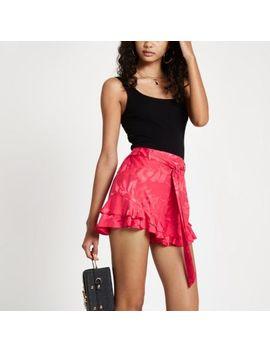 Dark Pink Frill Hem Tie Waist Shorts by River Island