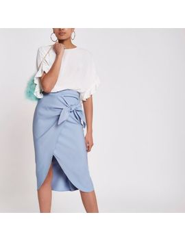 Blue Twist Front Pencil Skirt by River Island