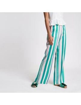 Green Stripe Wide Leg Pants by River Island