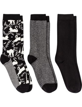 Women's Cat Crew Casual Socks   A New Day™ Black One Size by A New Day™