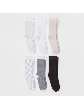 Women's 6pk Novelty Crew Socks   A New Day™ White One Size by A New Day™