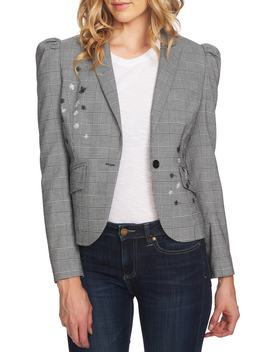 Glen Plaid Embroidered Detail Puff Sleeve Jacket by Cece