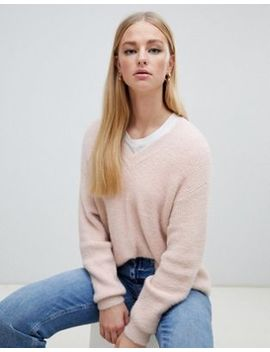 New Look V Neck Fluffy Jumper In Nude by New Look