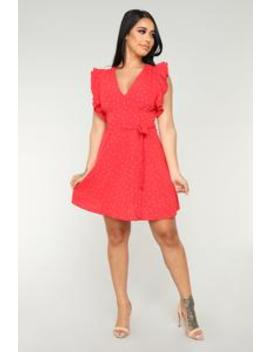Win The Lot Polka Dot Dress   Red by Fashion Nova