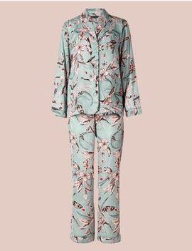 Satin Printed Long Sleeve Pyjama Set by Marks & Spencer
