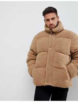 River Island Teddy Puffer In Brown Borg by River Island
