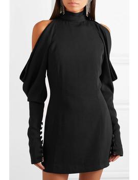 Cold Shoulder Crepe Turtleneck Mini Dress by 16 Arlington