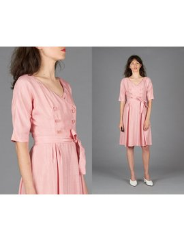 50s Pink Silk Dress by Etsy