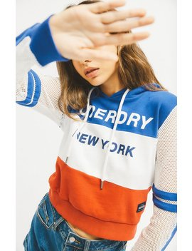 Superdry Mesh Sleeve Cropped Hoodie by Pacsun