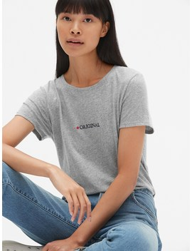 Embroidered Logo Crewneck T Shirt by Gap
