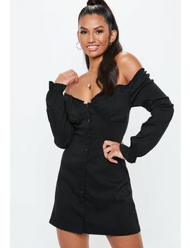 Black Button Down Milkmaid Dress by Missguided