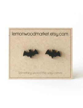 Bat Earrings   Alder Laser Cut Wood Earrings   Halloween Earrings by Etsy