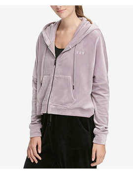 Sport Velour Cropped Hoodie by Dkny