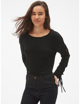 Softspun Lace Up Long Sleeve Top by Gap