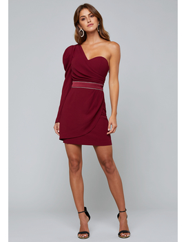 Crepe One Shoulder Dress by Bebe