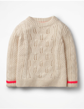Textured Cable Knit Sweater by Boden