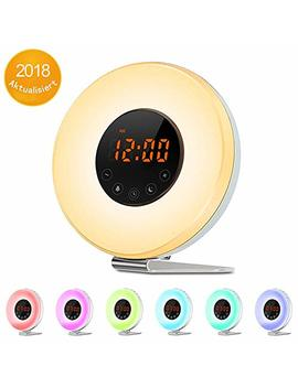 Sunrise Alarm Clock   Digital Led Clock With 7 Color Switch And Fm Radio For Bedrooms   Multiple Nature Sounds Sunset Simulation & Touch Control   With Snooze Function For Heavy Sleepers by Weiji