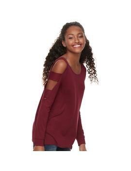 Juniors' Pink Republic Ladder Sleeve Cold Shoulder Top by Kohl's