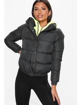 Black Cropped Puffer Jacket by Missguided