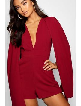 Petite Cape Detail Plunge Playsuit by Boohoo