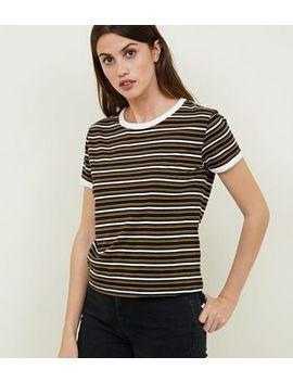 Black Multi Stripe Ringer T Shirt by New Look