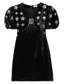 Bambi Sequin Embellished Velvet Mini Dress by Rixo London