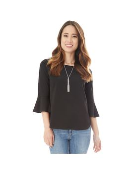Juniors' Iz Byer Boatneck Bell Sleeve Top & Necklace Set by Kohl's