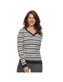 Women's Croft & Barrow® Classic Cable Knit V Neck Sweater by Croft & Barrow
