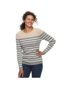 Women's Croft & Barrow® Classic Cable Knit Crewneck Sweater by Croft & Barrow