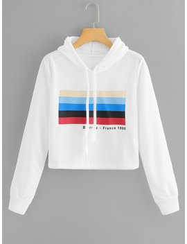 Striped And Letter Print Hooded Sweatshirt by Romwe
