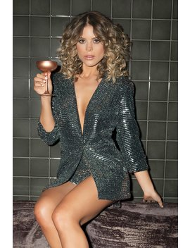Towie Black And Silver Sequin Suit Jacket by Quiz