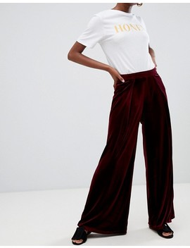 Glamorous Petite High Waist Wide Leg Trousers In Luxe Velvet by Glamorous Petite