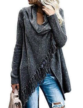 Dellytop Womens Long Sleeve Cardigans Wrap Single Button Tassel Asymmetrical Hem Shawl Coat by Dellytop