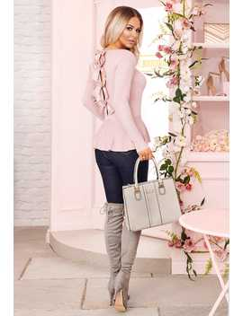 American Dream Rose Pink Bow Detail Peplum Jumper by Pink Boutique