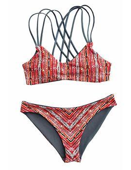 Cupshe Women's Reversible Design Strappy Cross Back Padding Bikini Set by Cupshe