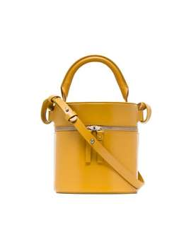 Yellow Drum Leather Shoulder Bag by Building Block