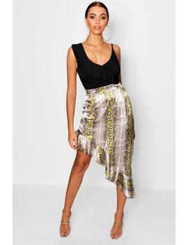 Snake Satin Asymetric Skirt by Boohoo
