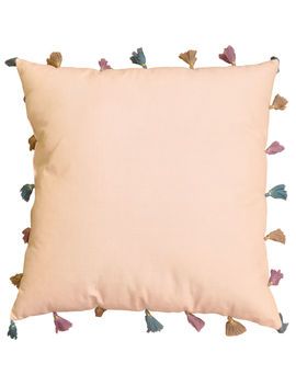 Boho Chic Pink Pillow With Poms 18 In by At Home