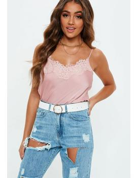 Pink Eyelash Lace Cami Top by Missguided