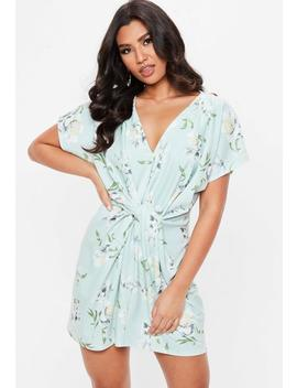Blue Knot Front Floral Dress by Missguided