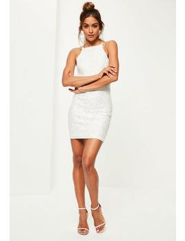 White Lace Square Neck Bodycon Dress by Missguided