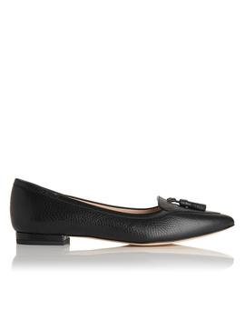 Dixie Black Leather Wide Fit Flats by L.K.Bennett
